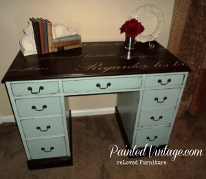 French Script Desk PaintedVintage