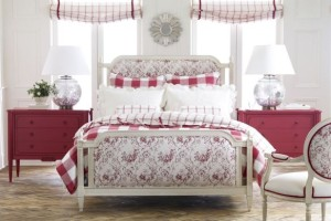 From Ethan Allen's Romance collection, the Julian Chest is painted a rich Geranium Red (C-10)