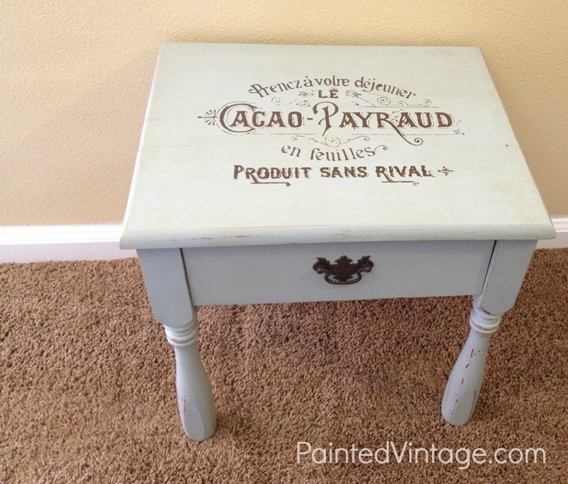 Painted Vintage Side Table French Label