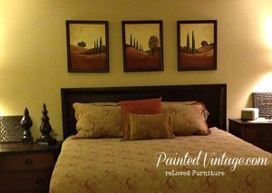 Artwork over headboard