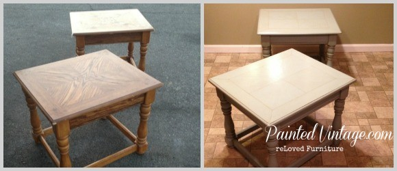 Refreshed End Tables Before and After