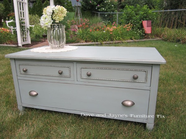 This one is a true original!! They had a dresser with no drawer so Dave cut it down to make this beautiful cabinet. can be used as a coffee table.......a TV stand, or just at the foot of your bed for extra storage with it's three drawers!!