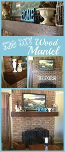 Wood Mantle Makeover collage2