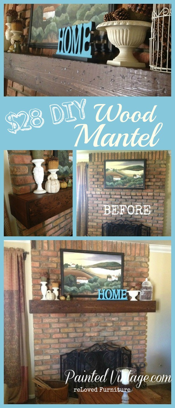 DIY Wood Mantel tutorial on how to build your own wood mantel for under 28 bucks!