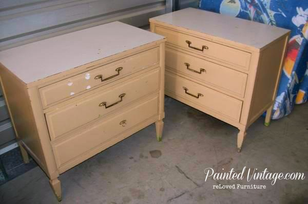 two toned nightstands before