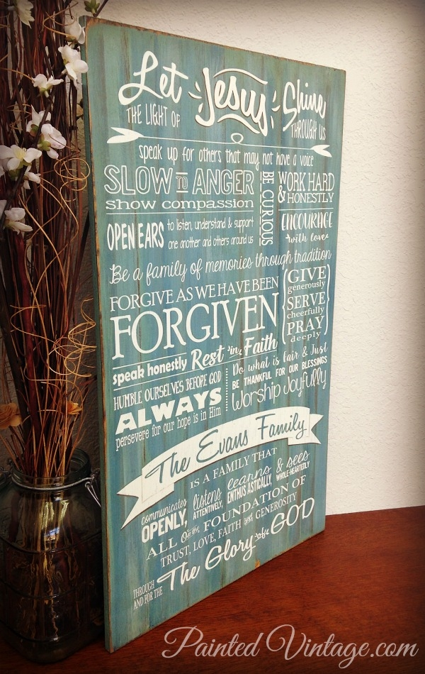 Family Mission Statement Sign painted vintage