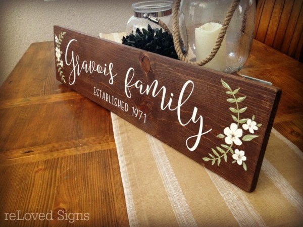 family last name sign by reloved signs
